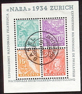 """Schweiz Suisse Expo """"NABA 1934"""" Zumstein WIII-1 Michel Block Yvert 1 BF 1 Mit O BASEL 19.VII.36 Mit Attest EBEL Von 1967 - Variétés"""