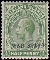 FALKLAND ISLANDS - Scott #MR1 King George V 'Overprinted' / Mint NG Stamp - Falkland