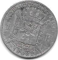 *belguim 1 Franc  Leopold II  1887  Flemisch  Type B  L .   WIENER  L Met Punt(with Point )  Fr+ - 07. 1 Franc