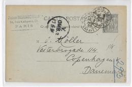 1896 - SAGE - CARTE ENTIER De PARIS => COPENHAGUE (DANEMARK) - DESTINATION - Cartoline Postali E Su Commissione Privata TSC (ante 1995)