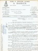 Lettre 1937 FLEMALLE-HAUTE - S. BARBIER - Constructions électriques : Machines Outils, Moteurs, Grues, Treuils, Ponts... - Belgique