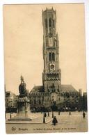 Brugge, Bruges, Le Beffroi Et Statue Breydel Et De Coninck (pk55057) - Brugge