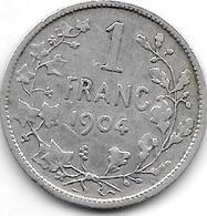 *belguim 1 Franc  Leopold II  1904 French  Fr+ - 07. 1 Franc