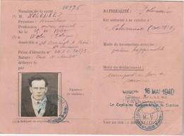 Permis Conduire Temporaire 1940 / Ministère Défense Nale / Ouvrier Agricole / Pologne / St Broingt 52 à Chaunée 21 - 1939-45