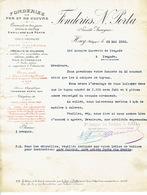 Lettre 1920 HUY - FONDERIES N. PORTA - Fonderies De Fer Et De Cuivre - Belgique