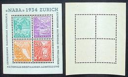 """Schweiz Suisse Expo """"NABA 1934"""" Zumstein WIII-1 Michel Block Yvert 1 BF 1 ** Postfrisch MNH  Plus Ausstellung-Vignette - Blocs & Feuillets"""