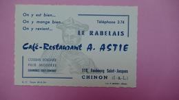 CHINON - LE RABELAIS - Café-Restaurant A. ASTIE - Visiting Cards
