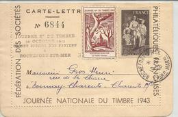 Journée Du Timbre Rochefort 1943 - Marcophilie (Lettres)