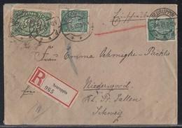 DR R-Brief Mif Minr.221,2x 244 Neuruppin 8.6.23 Gel. In Schweiz Zensur - Germany