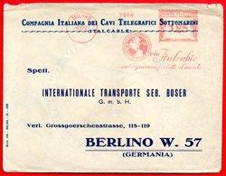 1927- ITALCABLE REGNO BELLA EMA METER FREISTEMPEL AFFRANCATURA ROSSA PER BERLINO - Affrancature Meccaniche Rosse (EMA)