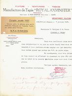 """Lettre 1937 JUSLENVILLE-THEUX - Manufacture De Tapis """"ROYAL AXMINSTER"""" - Filature, Teinturerie, Tissage - Belgique"""
