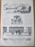GRAVURE  1872   Le Tréport   Inauguration Du  CHEMIN De  FER Train Gare  WAGON FOURGON WATER-CLOSET   TREPORT - Le Treport