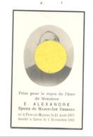 Faire-part De Décès De Mr. E. ALEXANDRE ép. De M-I Dessers - FIZE-LE-MARSAL 1871 / LIEGE 1935 (b243) - Décès