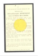 Faire-part De Décès De Mr. Alfred GERIMONT ép. De M. Deberg LIEGE 1934 (b243) - Décès