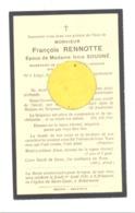 Faire-part De Décès De Mr. François RENNOTTE - Union Bancaire Liégeoise - ép. De I. Sougné -LIEGE 1892/ 1934 (b243) - Décès