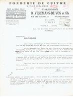 Brief 1941 MECHELEN - B. VEKEMANS-DE VOS Et Fils - Fonderie De Cuivre, Petit Matériel De Chemins De Fer & Tramways... - Belgique