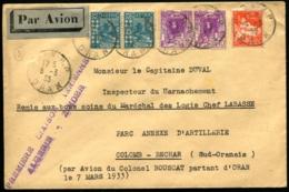 """ALGERIE - 1ère Liaison ALGERIE/ZINDER - Affrt Composé Obl """"ORAN 6/3/33"""" Pour COLOMB-BECHAR (Sud-Oranais) - RARE - Poste Aérienne"""