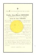Faire-part De Décès De Mr. Emile GRISARD, Architecte U.A.P. ép. De J. Theisen - LIEGE  1934 (b243) - Décès