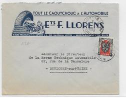 1950 - ENVELOPPE PUB DECOREE (PNEU AUTOMOBILE) De MOSTAGANEM => BOULOGNE - Lettres & Documents