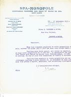 Lettre 1937 SPA - SPA-MONOPOLE - Compagnie Fermière Des Eaux Et Bains De Spa - Belgique