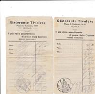 RISTORANTE TIVOLESE - PIAZZA S. EUSTACHIO 54 - ROMA - DUE RICEVUTE DEI PRIMI DEL 900 - Italia
