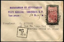 """MADAGASCAR - E.P. 5c Type Du N°131 Obl Càd """"TANANARIVE 2/12/44"""" Pour MERIEL Avec Cachet """"taxe Perçue"""" De P.A - TB - Madagascar (1889-1960)"""