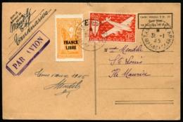 MADAGASCAR - Vol TANANARIVE/ILE MAURICE S/CP Par Avion Avec Départ 31/1/45 Et Arrivée 5/2/45 - TB - Madagascar (1889-1960)