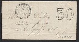 1862 - LAC - Cachet Perlé Type 22 St. Clair Sur L'Elle (48 Manche) - 8 Nov. 62 - 30déc Taxe - Poststempel (Briefe)