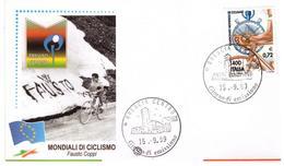 Fdc Filagrano: MONDIALI CICLISMO Coppi 1999 ; No Viaggiata - 6. 1946-.. Repubblica