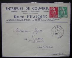La Neuville Champ D'Oisel, Par Boos (seine Inférieure) René Filoque Entreprise De Couverture Plomberie Quincaillerie - Marcophilie (Lettres)