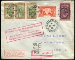 """MADAGASCAR - 1er Voyage MADAGASCAR/EUROPE - Affrt Composé Obl """"TANANARIVE 27/10/36"""" Pour PARIS - C.S - TB - Madagascar (1889-1960)"""