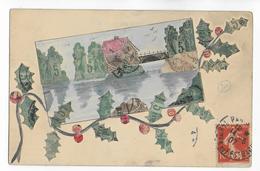 1907 - CARTE PEINTE à La MAIN + TIMBRES SAGE , ESPAGNOL , AUTRICHIEN Et HONGROIS - Timbres (représentations)