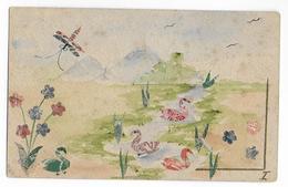 1912 - CARTE PEINTE à La MAIN + TIMBRES TYPE BLANC + SEMEUSE VOYAGEE De WERVES (BELGIQUE) Avec TAXE (VOIR DOS) - Francobolli (rappresentazioni)