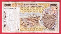 Afrique De L Ouest  -  1000 Francs   Pick # 711 K  Sign 28   -état  TB - États D'Afrique De L'Ouest
