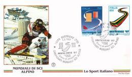 Fdc Filagrano: MONDIALI SCI ALPINO 1997 ; No Viaggiata - 6. 1946-.. Repubblica