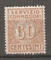 SERVIZIO COMMISSIONI  Yv. N° 10   SASS N° 2   *  60c  Brun Clair   Cote 40 Euro BE  R 2 Scans - 1900-44 Victor Emmanuel III
