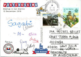 SAN MARINO EUROPA 2017 Sur Carte Postale Postcrossing Meetup, Adressée Andorra, Avec Timbre à Date Arrivée - Europa-CEPT