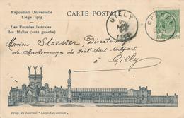 672/27 - Carte Illustrée Expo Liège 1905 TP 56 CHENEE 1904 Vers GILLY - Chaudronnerie Et Fonderie De Fer Bailly-Mathot - 1893-1907 Wappen