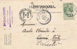 674/27 - Carte-Vue BONSECOURS TP 56 PERUWELZ 1905 Vers LA CANEE Crète- Bureaux Grec Et Italien - 1893-1907 Wappen