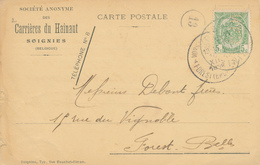 675/27 - Carte TP 83 PERFORE C.d.H.(Carrières Du Hainaut) SOIGNIES 1912 Vers FOREST Bxl. - 1893-1907 Wappen