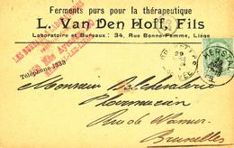 678/27 - Carte Privée TP 56 HERSTAL1905 Vers BXL - Entete Ferments Purs Thérapeutiques , Van Den Hoff Fils à HERSTAL - 1893-1907 Wappen