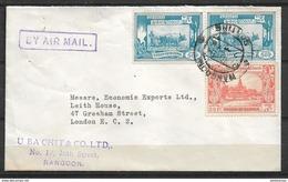 USED OLD AIR MAIL COVER BURMA ( MYANMAR ) TO ENGLAND - Myanmar (Birmanie 1948-...)