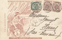 668/27 - Carte-Vue Exposition Universelle Liège 1905 TP 53 Et Paire 55 LIEGE DEPART 1905 Vers HERENT Louvain - 1893-1907 Wappen