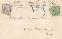 671/27 - Carte-Vue TP 56 OSTENDE 1904 Vers PARIS - 2 Taxations Successives à 10 C. - 1893-1907 Wappen