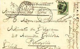 673/27 - Carte-Vue TP 56 Bruxelles 1905 Vers PETROPOLIS Brésil - Comtesse De Gonsencourt , Chateau De BEAUVAL Par OBOURG - 1893-1907 Wappen