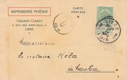 677/27 - Carte Privée TP 83 LIEGE 1912 Vers Notaire Hela à MOHA - Entete Imprimerie Phénix , Vincent - Garot - 1893-1907 Wappen