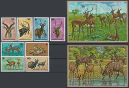 Rwanda, 1975 Antelopes - Stamps + Minisheet - Mint - Y-42 - Rwanda