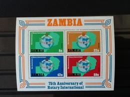 Zambia Block 75 Th Anniversary Of Rotary International 1980 - Zambia (1965-...)