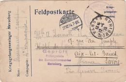 "CartePG  Prisonnier Guerre1914 / Merseburg Allemagne / Censure "" Geprüft Prüfungsstelle Ds Garnisonkommandes""/ - 1914-18"
