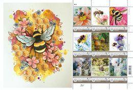 Ukraine 2019, Art, Insects, Bees, Beekeeping, Sheetlet Of 9v - Ukraine